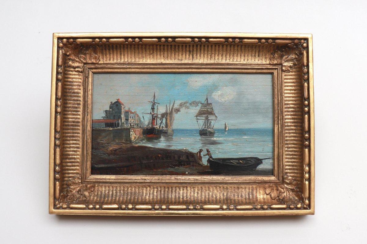 Port de pêche en Normandie. Bateaux et pêcheurs. XIX° Siècle.