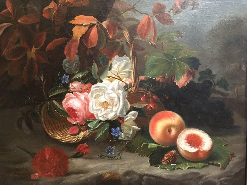 Nature morte de fleurs et fruits représentant les Quatre Saisons allégorie des âges de la vie. HST. Signée Datée Moncarlot 1863-photo-2