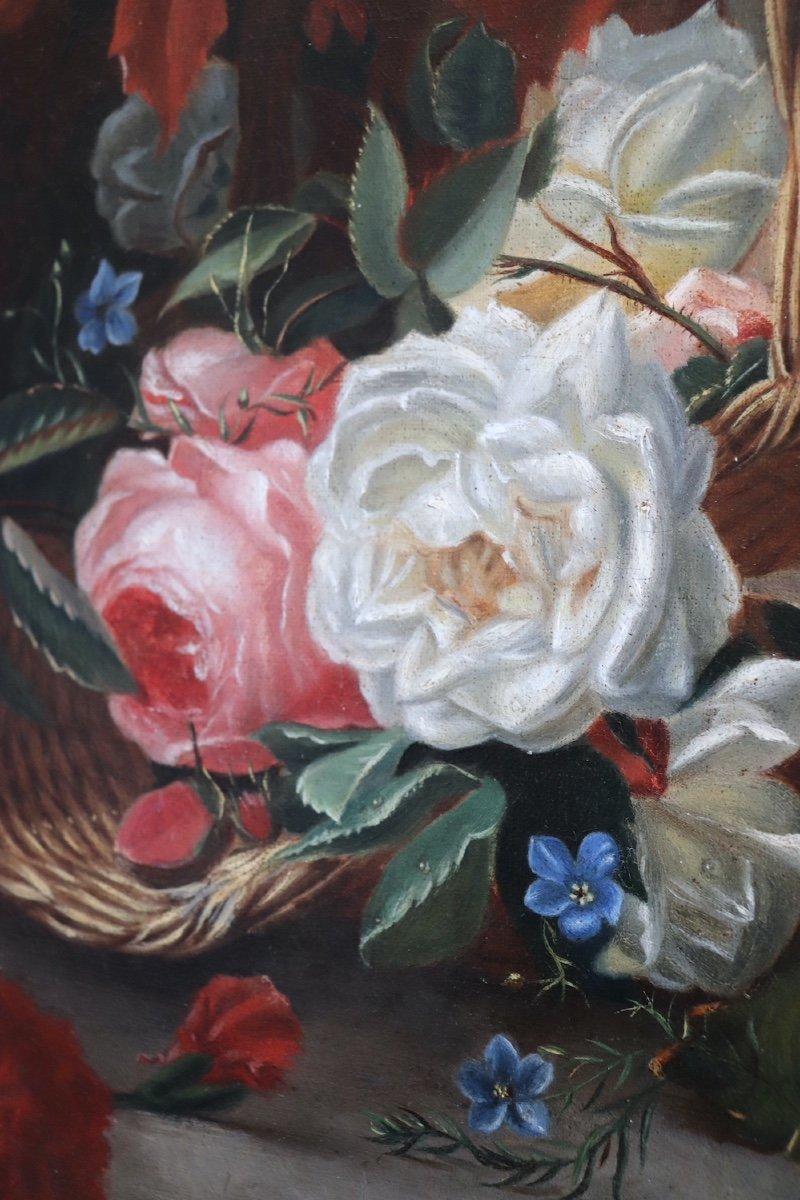 Nature morte de fleurs et fruits représentant les Quatre Saisons allégorie des âges de la vie. HST. Signée Datée Moncarlot 1863-photo-1