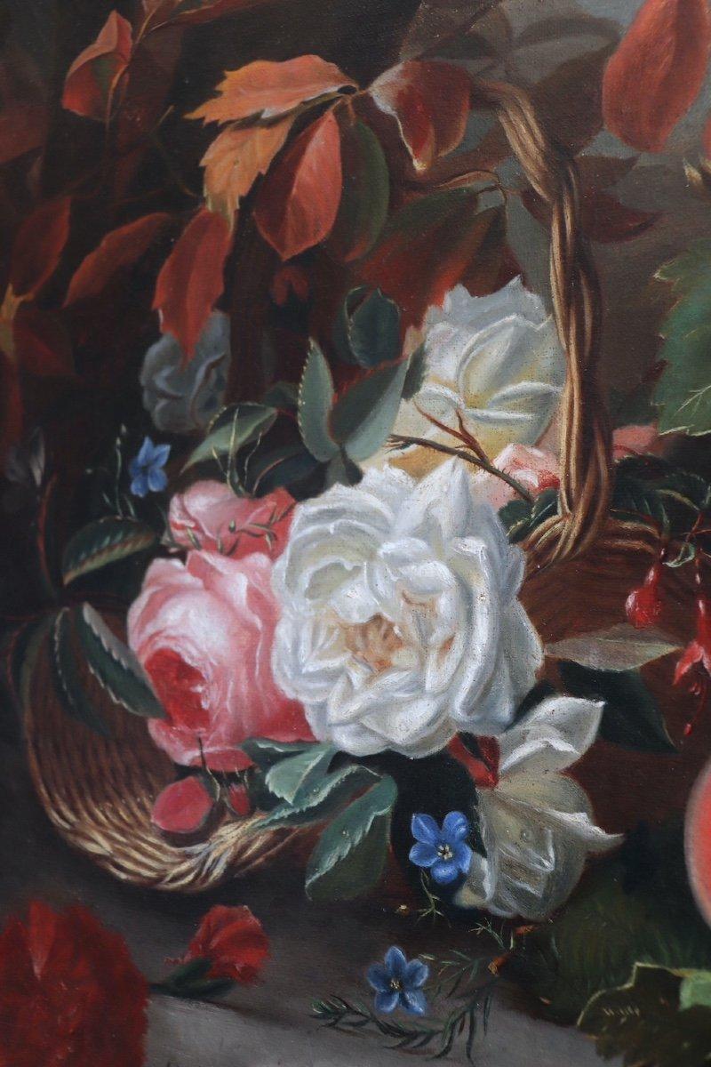 Nature morte de fleurs et fruits représentant les Quatre Saisons allégorie des âges de la vie. HST. Signée Datée Moncarlot 1863-photo-3