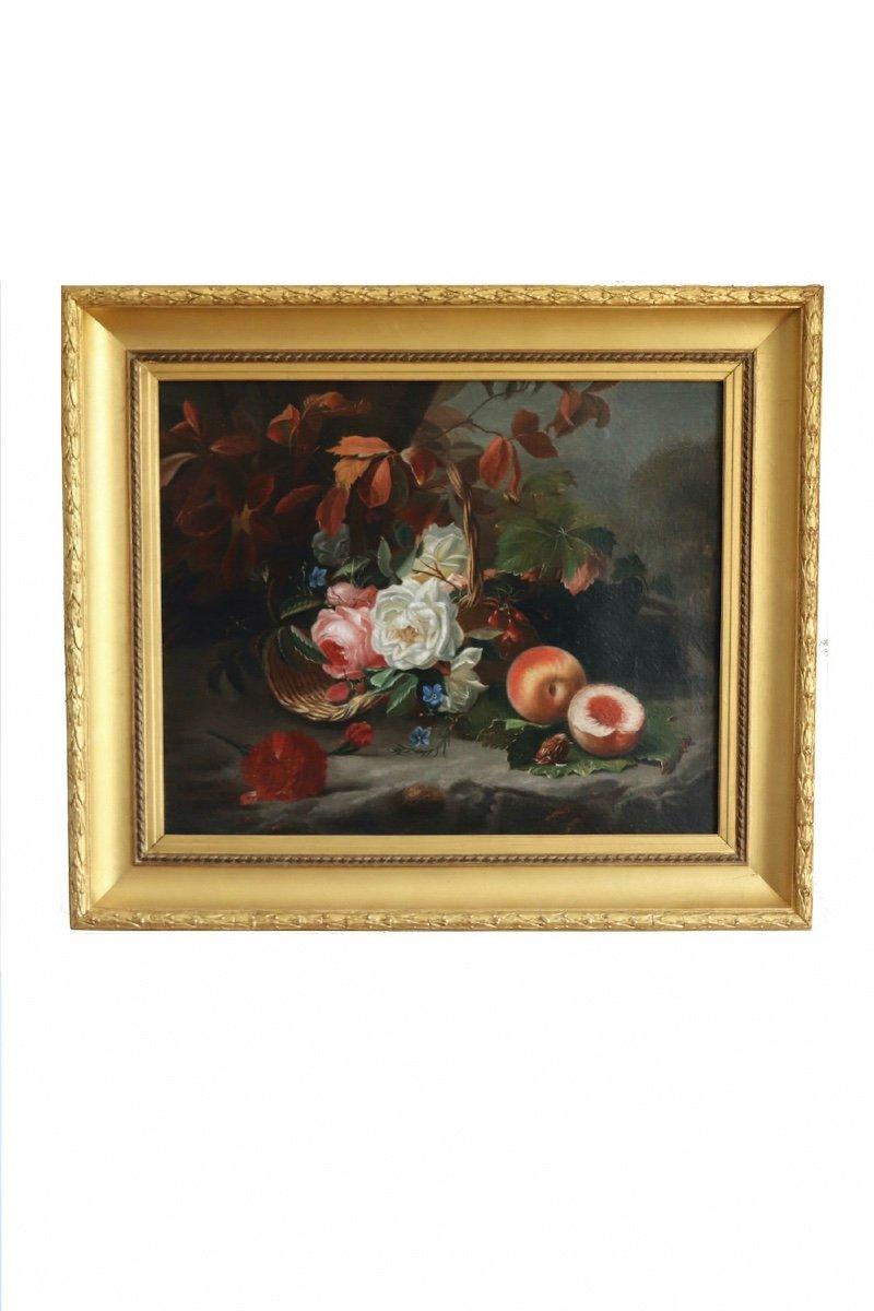 Nature morte de fleurs et fruits représentant les Quatre Saisons allégorie des âges de la vie. HST. Signée Datée Moncarlot 1863