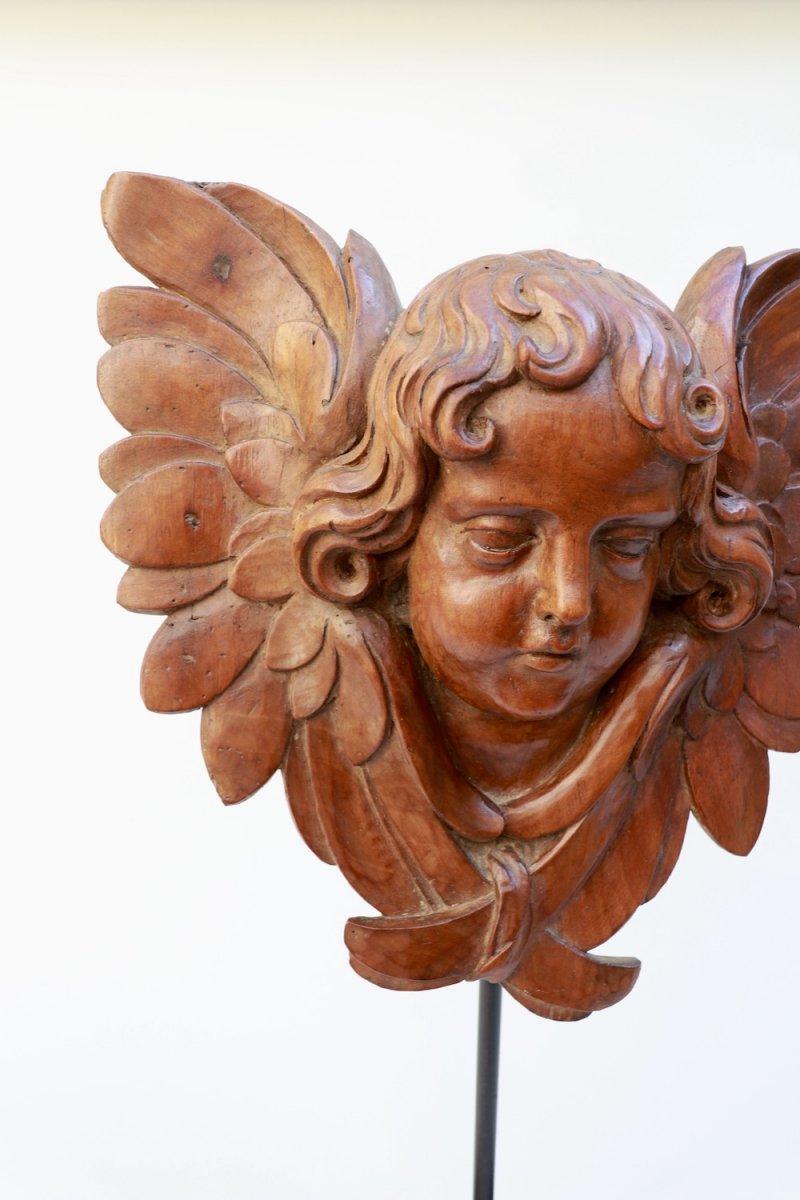 Tête d'Ange ailée. Chérubin. XVIII° siècle. Noyer-photo-2