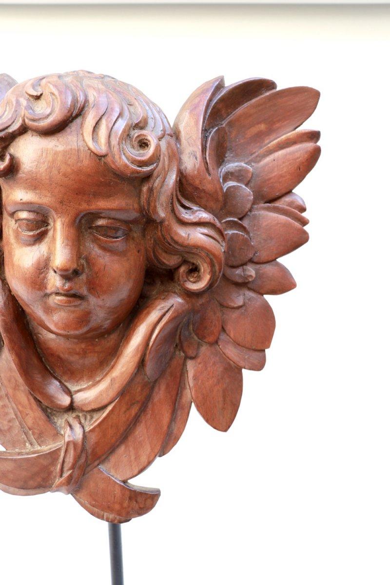 Tête d'Ange ailée. Chérubin. XVIII° siècle. Noyer-photo-4