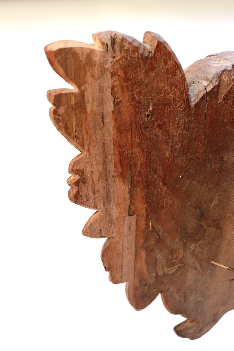 Tête d'Ange ailée. Chérubin. XVIII° siècle. Noyer-photo-1
