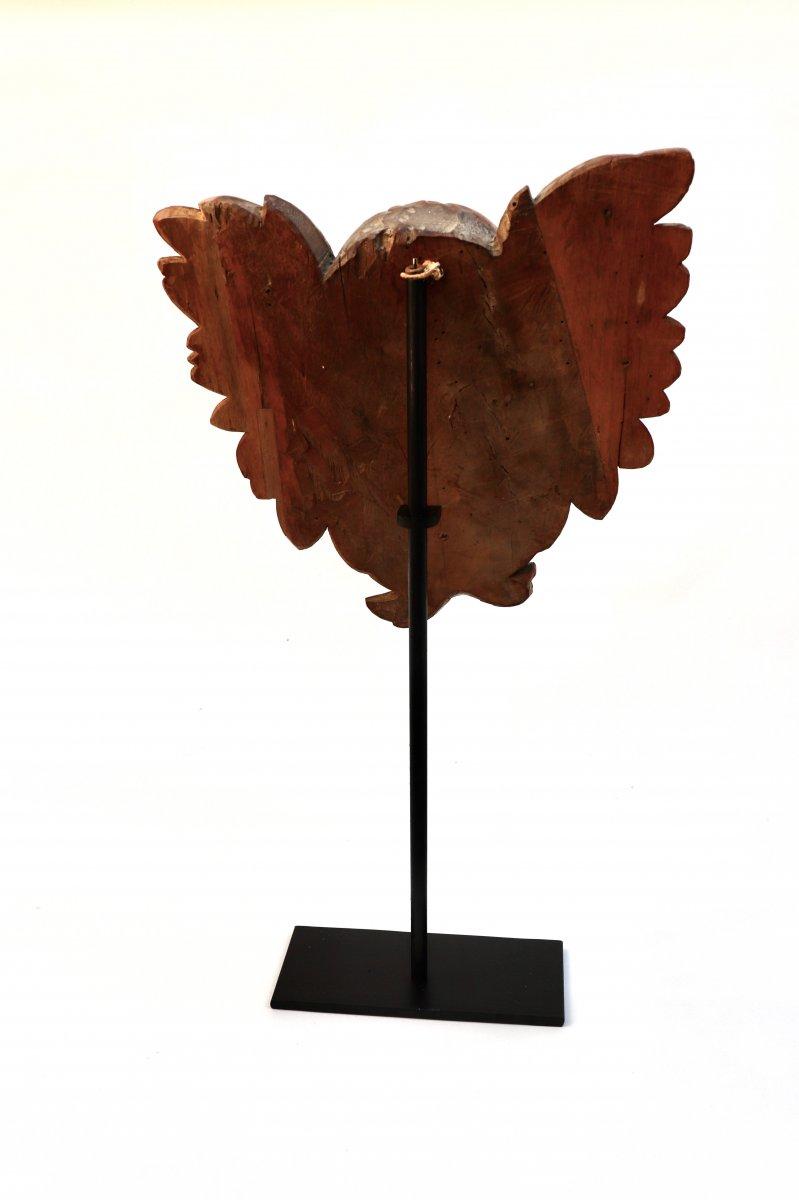 Tête d'Ange ailée. Chérubin. XVIII° siècle. Noyer-photo-3