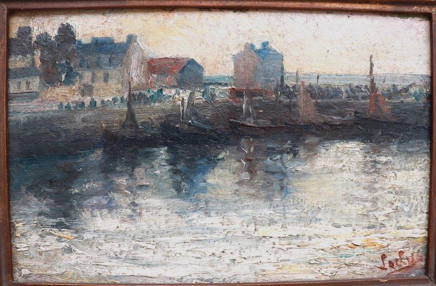 Marine. Vue Du Port De Cherbourg. Hsc. Signé-photo-1