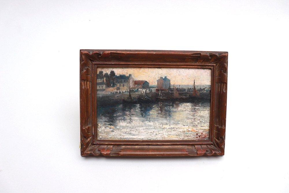 Marine. Vue Du Port De Cherbourg. Hsc. Signé-photo-2