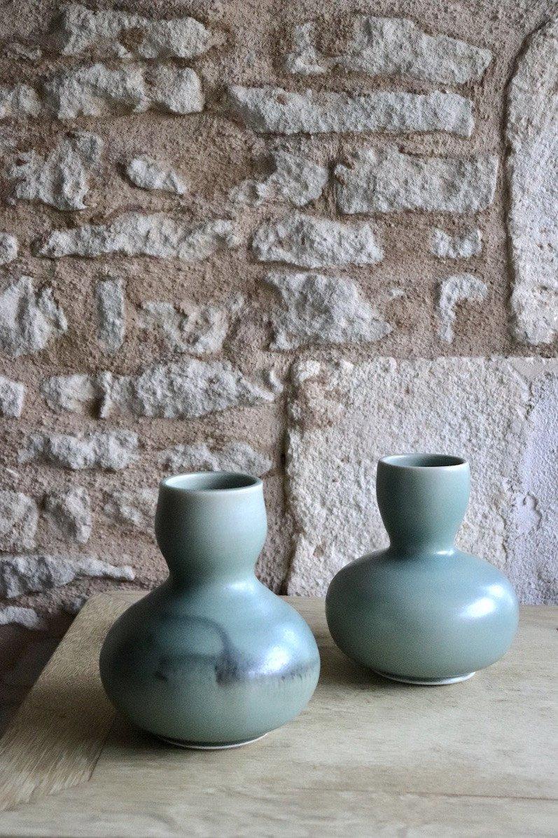 Daniel de Montmollin. Vase Céladon sur porcelaine. H 16,5 cm.-photo-3