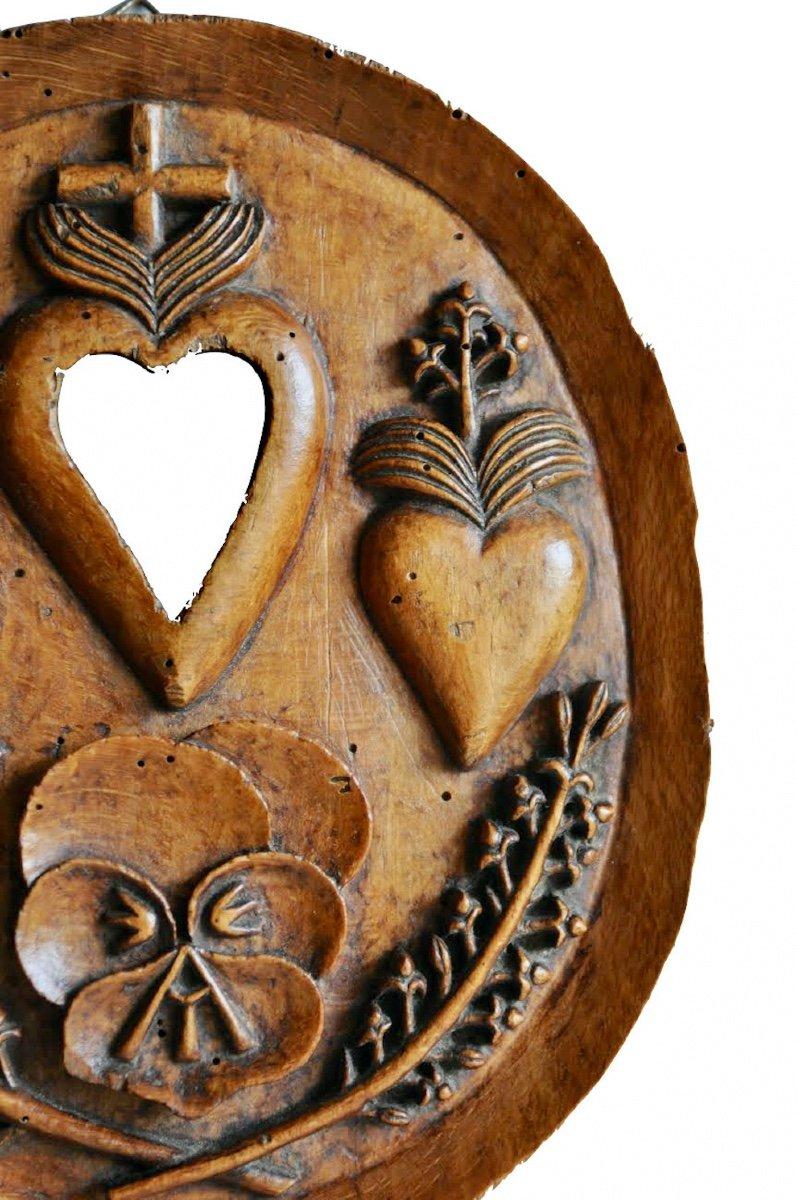 Présent D'amour Ou Reliquaire.  Médaillon Ovale Monoxyle En Hêtre Sculpté. XIX° Siècle. -photo-2