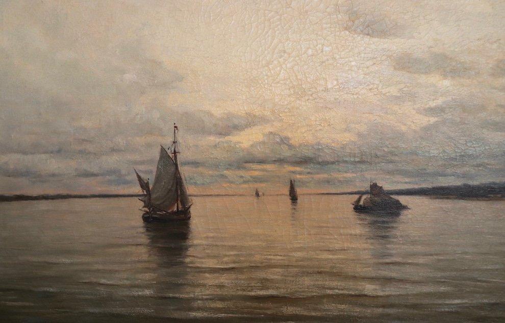 Arthur Bouvier ( 1837-1921) . Marine Avec Bateaux. Estuaire De l'Escaut .  Hst.  1873. -photo-2
