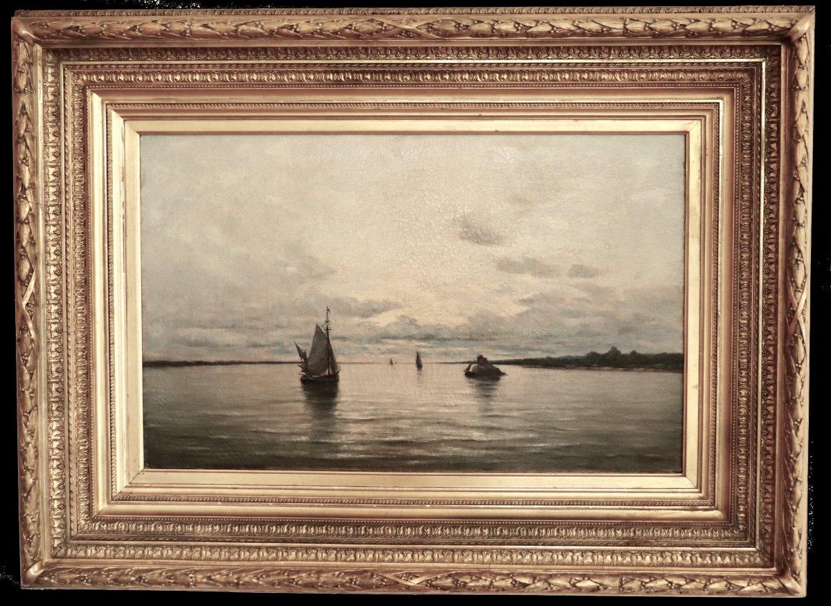 Arthur Bouvier ( 1837-1921) . Marine Avec Bateaux. Estuaire De l'Escaut .  Hst.  1873. -photo-6