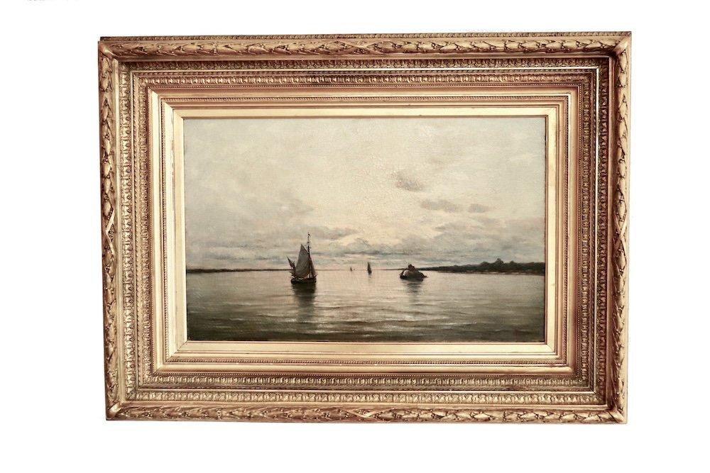 Arthur Bouvier ( 1837-1921) . Marine Avec Bateaux. Estuaire De l'Escaut .  Hst.  1873.