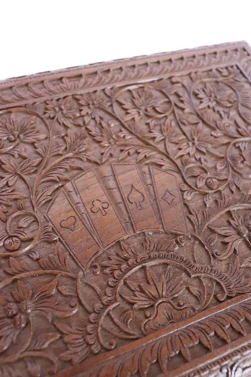 Boîte à Jeux En Bois Sculpté Asie du sud -est  XX° Siècle.  -photo-3