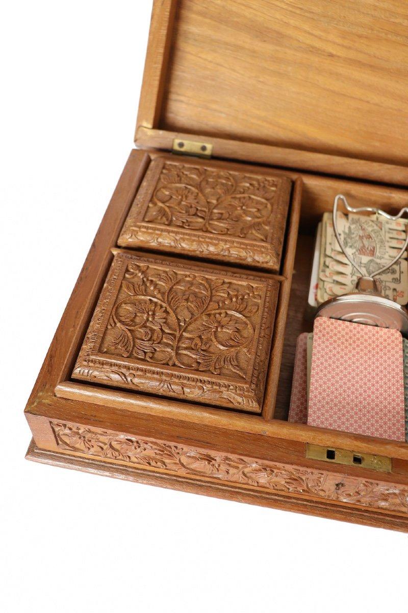 Boîte à Jeux En Bois Sculpté Asie du sud -est  XX° Siècle.  -photo-2