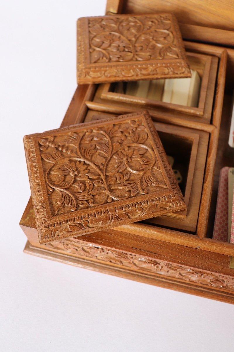 Boîte à Jeux En Bois Sculpté Asie du sud -est  XX° Siècle.  -photo-4