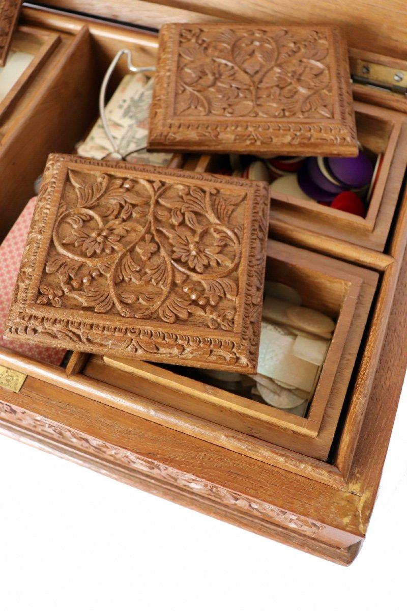 Boîte à Jeux En Bois Sculpté Asie du sud -est  XX° Siècle.  -photo-5