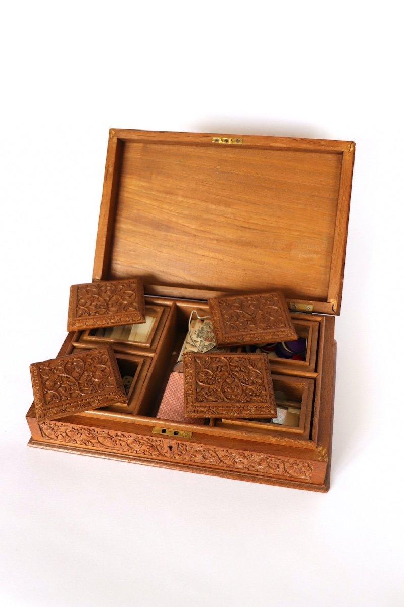 Boîte à Jeux En Bois Sculpté Asie du sud -est  XX° Siècle.  -photo-7