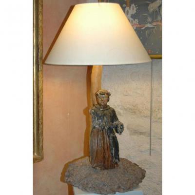 Lampe, sculpture d'un moine portugais de la fin du XVIIe