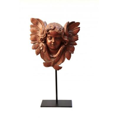 Cherub. Head Of Winged Angel. XVIII ° Century.