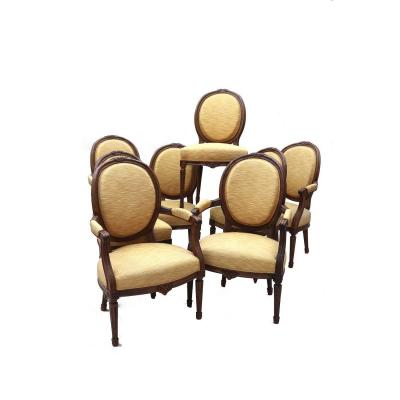 Set Of Four Chairs And Four Armchairs In Oak, Louis XVI Period.