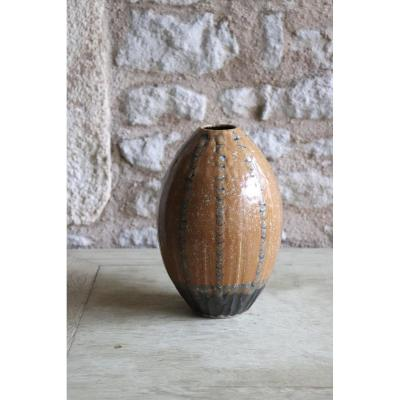 Daniel De Montmollin. Enamel Vase Of Vegetable Ash On Sandstone. H 19.5 Cm / 7.68 In