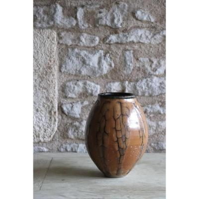 Daniel De Montmollin. Enamel Vase Of Vegetable Ash On Sandstone. H 20 Cm / 7.88 In