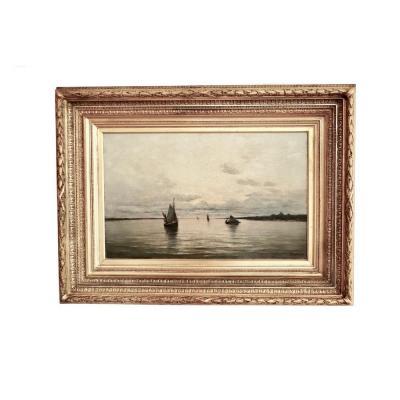 Arthur Bouvier ( 1837-1921) . Marine With Boats. Estuary Of The Escaut .  Oil On Canvas.  1873.
