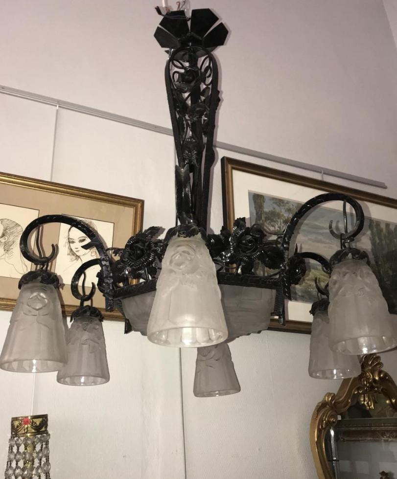 lustre fer forge art deco vasque 6 tulipes degue lustres. Black Bedroom Furniture Sets. Home Design Ideas