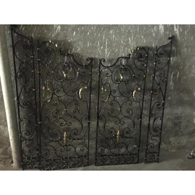 Pair Of Middle Of Grills Wrought Iron Art Deco