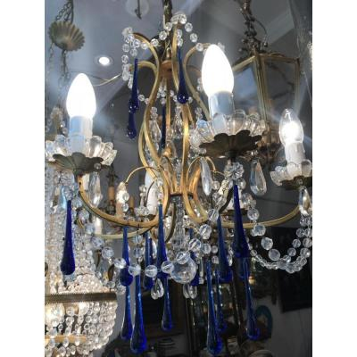 Chandelier 6 Lights Pampilles Colors Murano Blue
