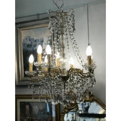 9 Lights Bronze Chandelier Napoleon III Crystal Pendants