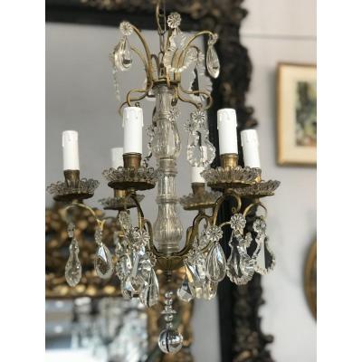 Lustre Bronze 6 LumiÈres Pampilles Cristal Style Louis XV