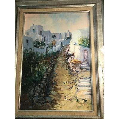 « Le Petit Chemin Calme Myconos  » Par Charles Guillaud (1925-2014)