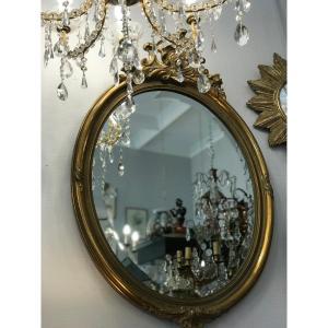 Miroir Ovale A Fronton En Bois Et Stuc Doré Glace Ovale Biseautée