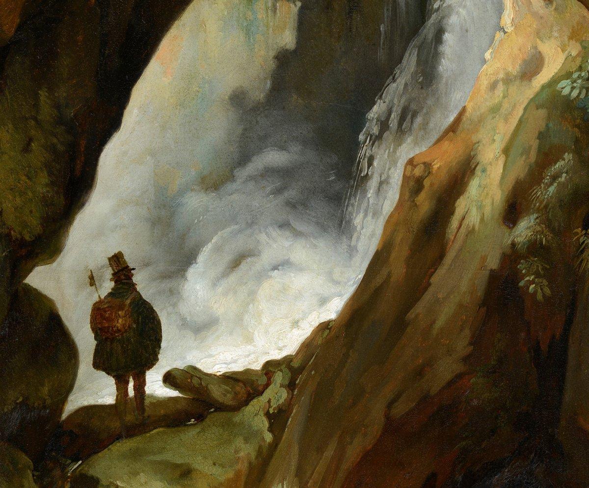 Simon Denis (1755-1813) Tivoli, promeneur dans la grotte de Neptune