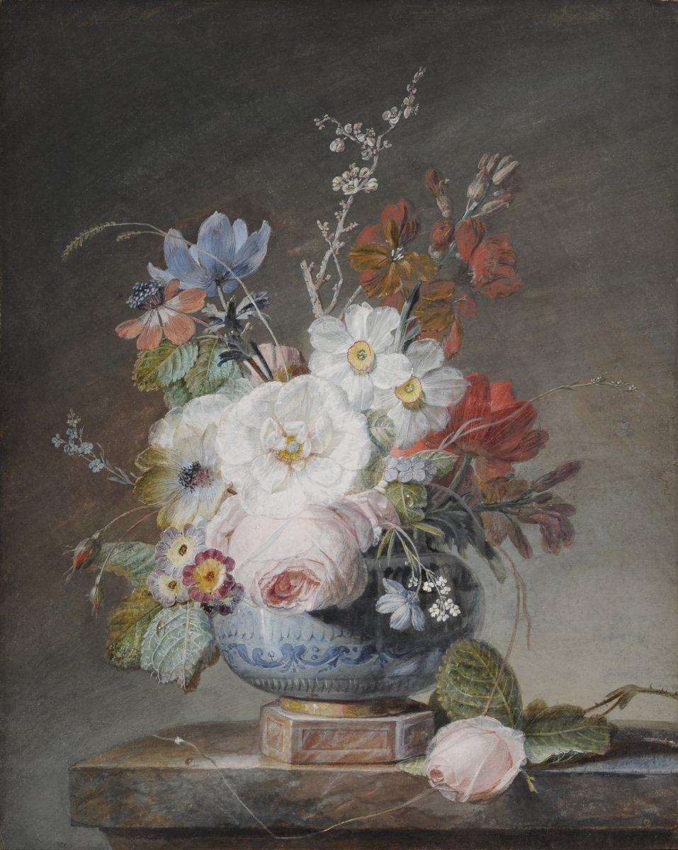Jean-Louis Prevost (1745-1827) Vase de fleurs sur un entablement