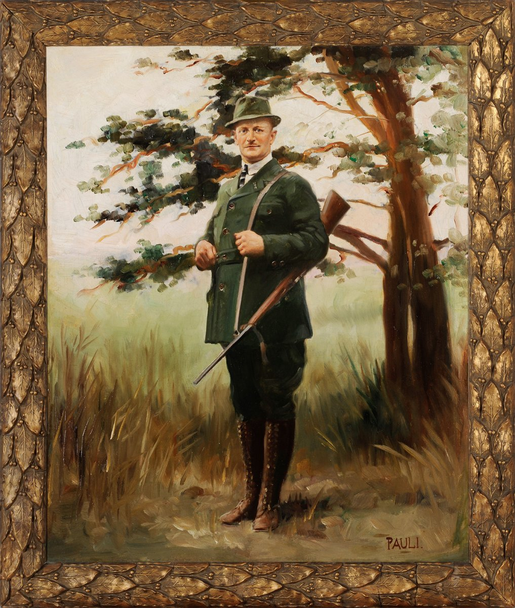 Portrait Of A Hunter - German School Circa 1930