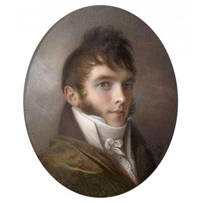 French School Circa 1805 - Portrait Of Young Man With Blue Eyes