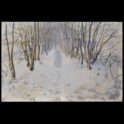 Numa Gillet  (1868–1940) - Communiante dans la neige