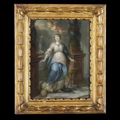 Sainte Martine brisant les Idoles - Ecole du Nord vers 1700