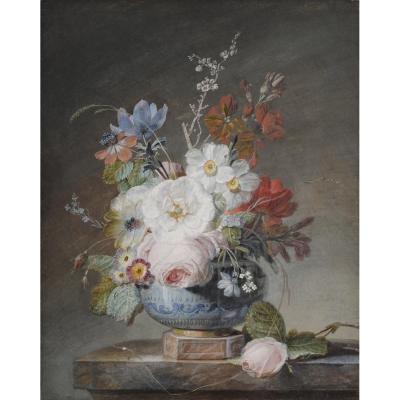 Jean-louis Prevost (1745-1827) Vase Of Flowers On An Entablature