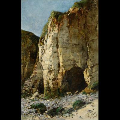 Alexandre Defaux (1826-1900) Yport, The Cliff Of Amont Normandie