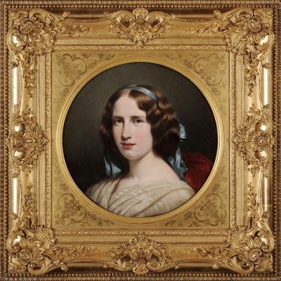 Henri Decaisne (1799-1852) Portrait de jeune femme au ruban bleu