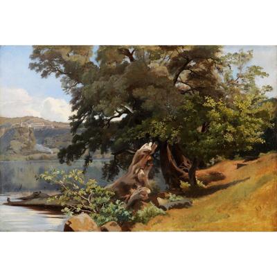 Achille Bénouville (1815-1891) Le lac de Nemi près de Rome Italie