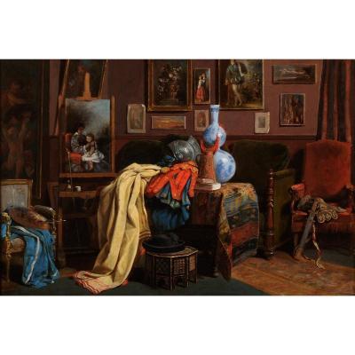 John O'brien Inman (1828-1896) The Artist's Studio In Paris