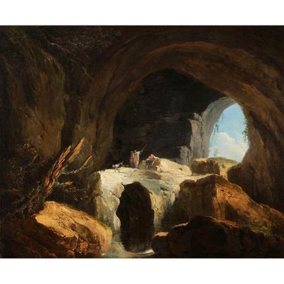 Louis-Philippe Crépin (1772-1851)  Promeneurs dans une grotte
