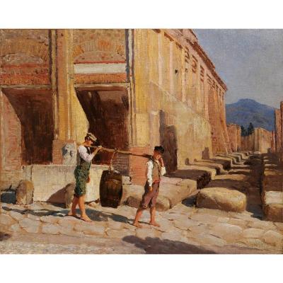 Ecole danoise du milieu du XIXe - Pompéi, jeunes garçons près de l'édifice d'Eumachia