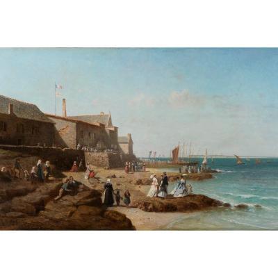 Charles Mermé (1818-1869) La bénédiction du Coureau de Groix à Larmor Bretagne Lorient