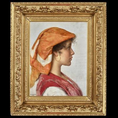 Jean Benner (1836-1906) - Portrait de jeune capriote Capri Italie