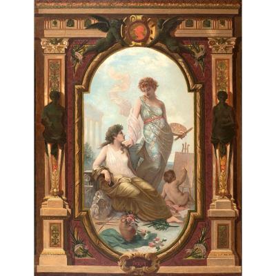 Oscar-Pierre Mathieu, att. à (1845-1881) Allégorie de la peinture et de la sculpture